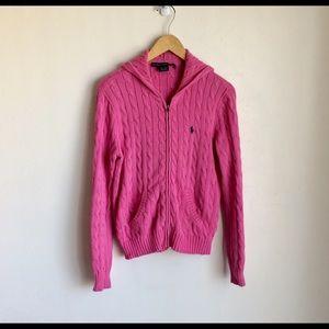 Ralph Lauren Sport Pink Hooded Sweater Size L